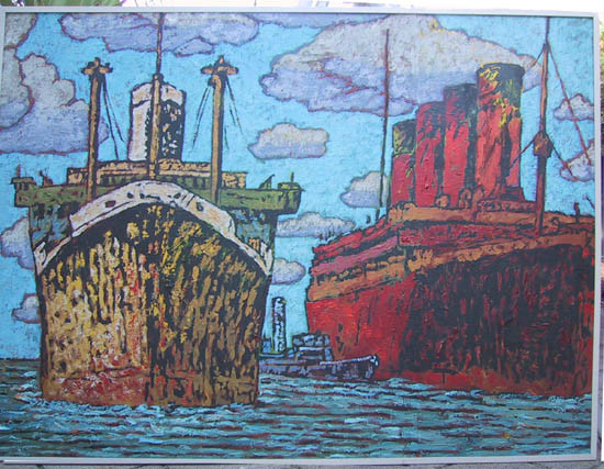David Bromely - artFido - Big Ships in the Harbour - affordable art?