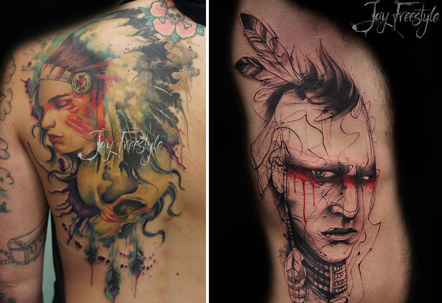Artist Creates Amazing Freehand Tattoos On The Spot Without Any