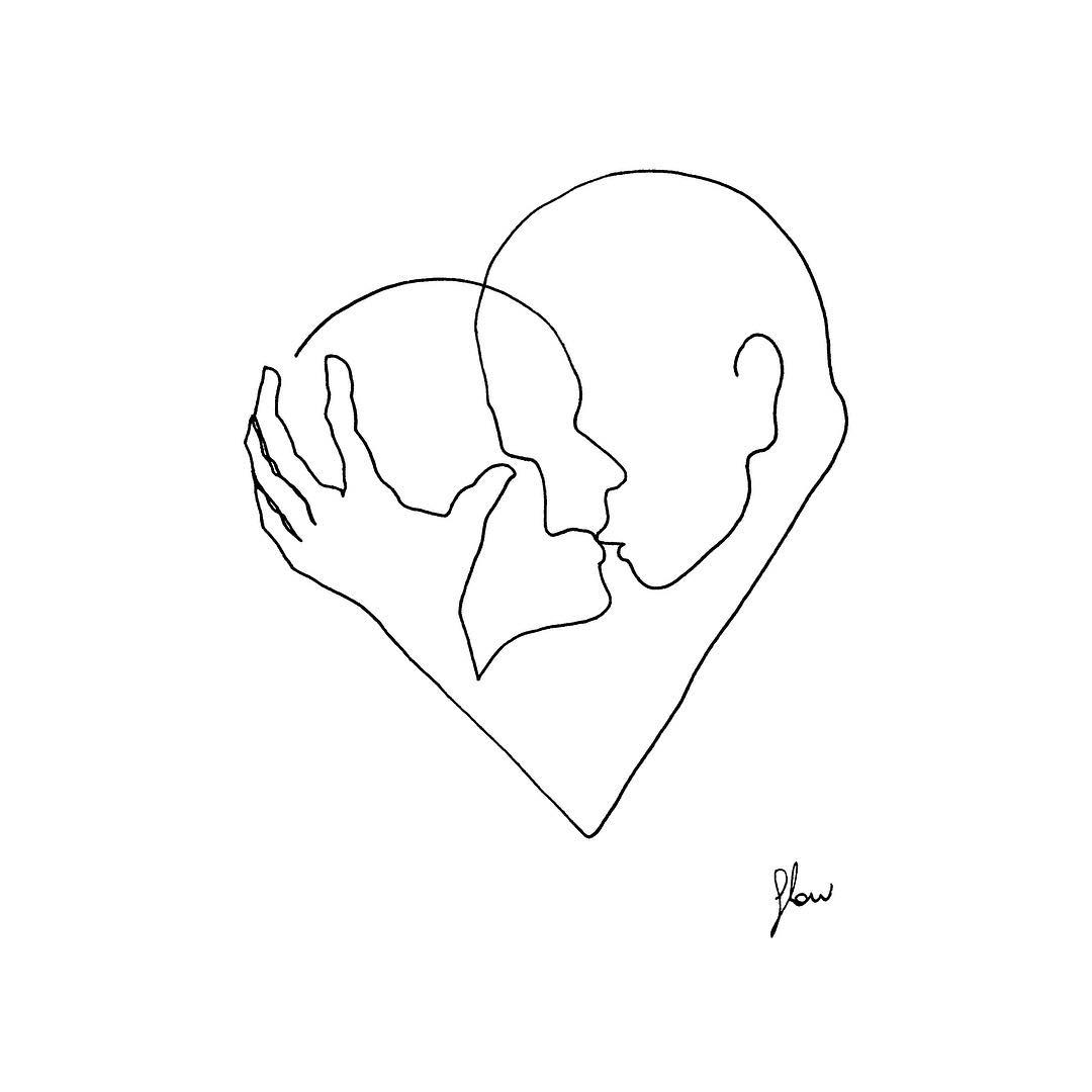 artist uses simple line drawings to capture a couple s intimate