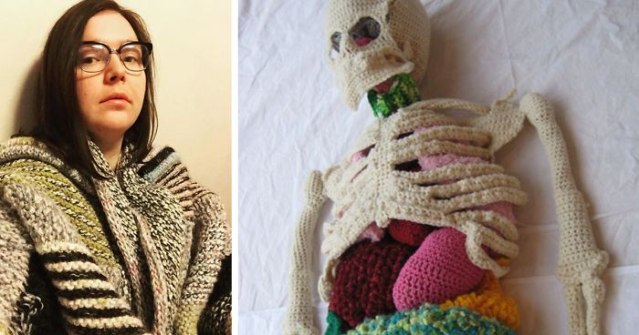 Life-Size Crochet Skeletons That Are So Intricate, The Stomach Even